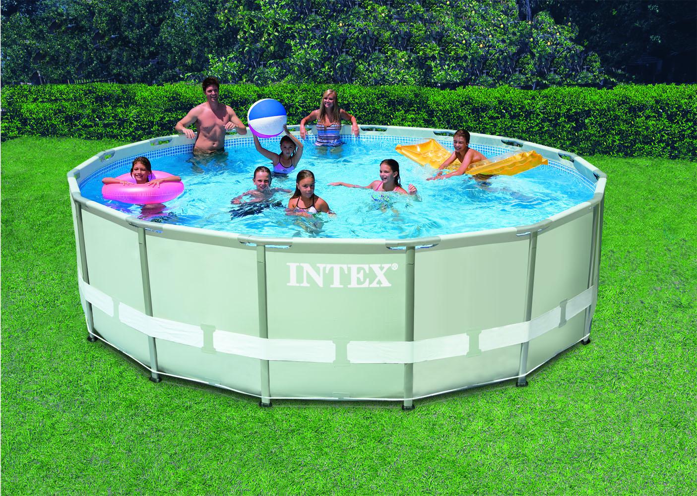 Intex ultra frame pool 549x132 cm set met filterpomp for Rechthoekig zwembad met pomp