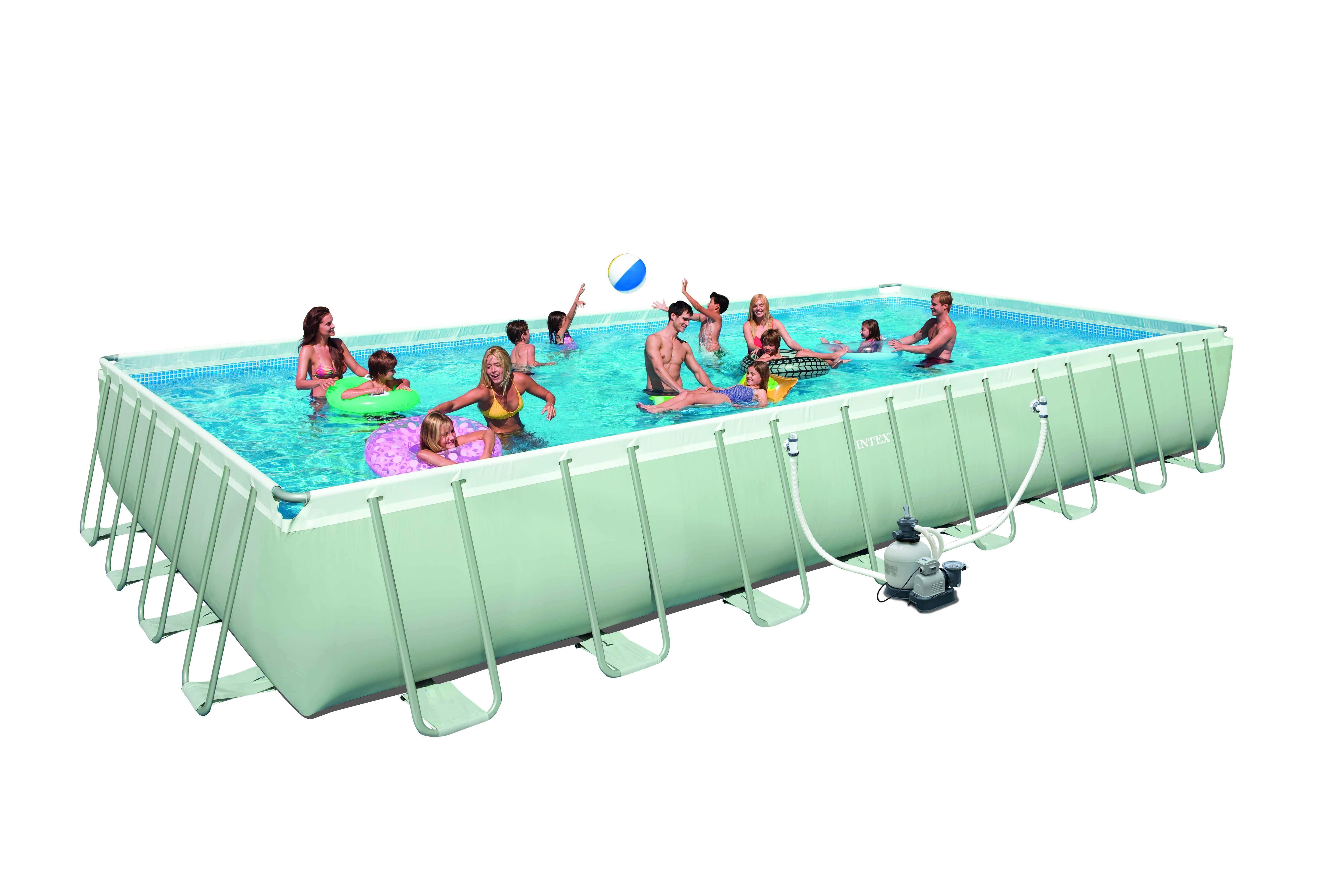Intex ultra rectangular 975x488x132 cm met zandfilter for Rechthoekig zwembad