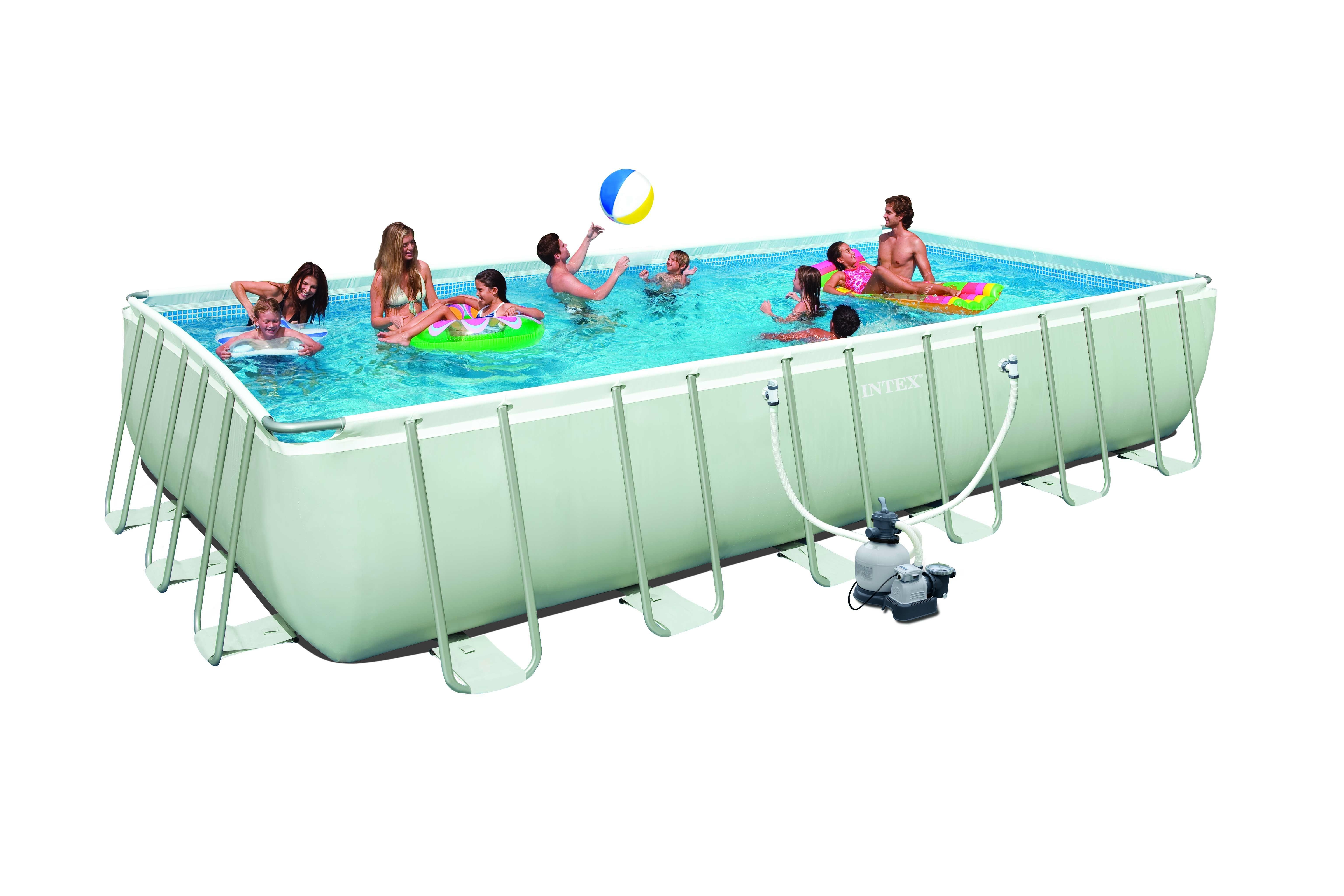 Intex ultra rectangular 732x366x132 cm met zandfilter for Intex zwembad grijs