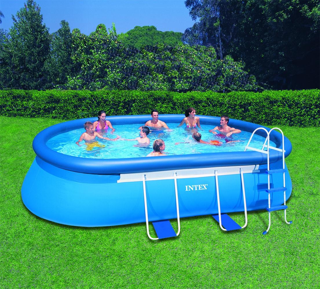 Intex ovaal frame pool 549x305x107 cm zwembadcenter for Zwembad intex