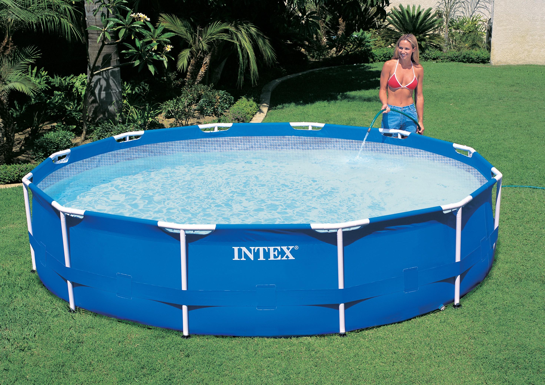 Intex metaal frame pool 305x76 cm met filterpomp for Rechthoekig zwembad met pomp