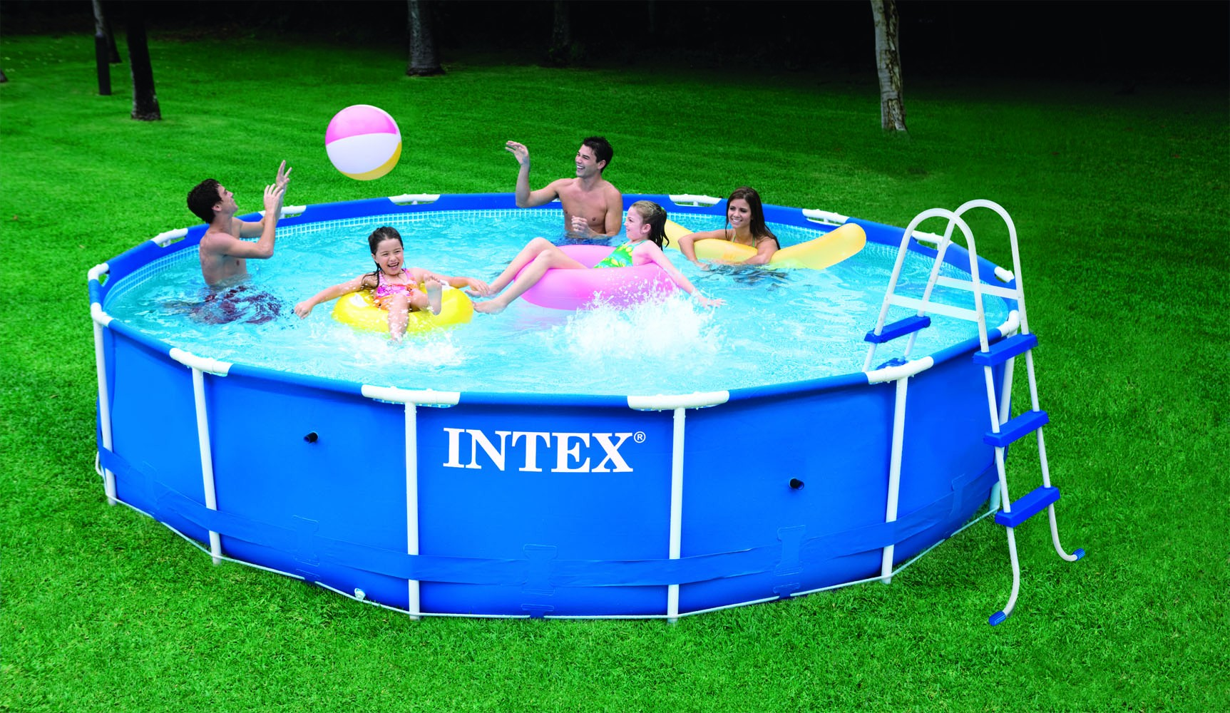 Intex metaal frame pool 457 x 91 cm set zwembadcenter for Groot rond zwembad